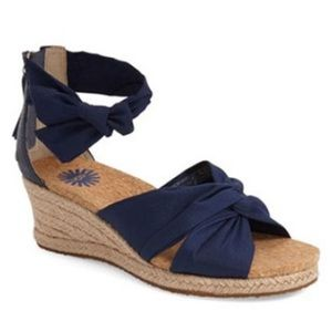 UGG Starla Navy Espadrille Wedge Sandals, sz 8